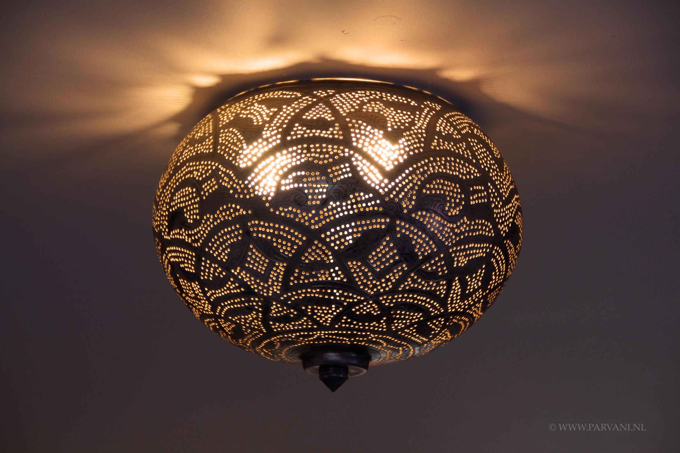 Parvani  Plafonniere-Zenza-zilver-motief-plafond-lamp-oosters