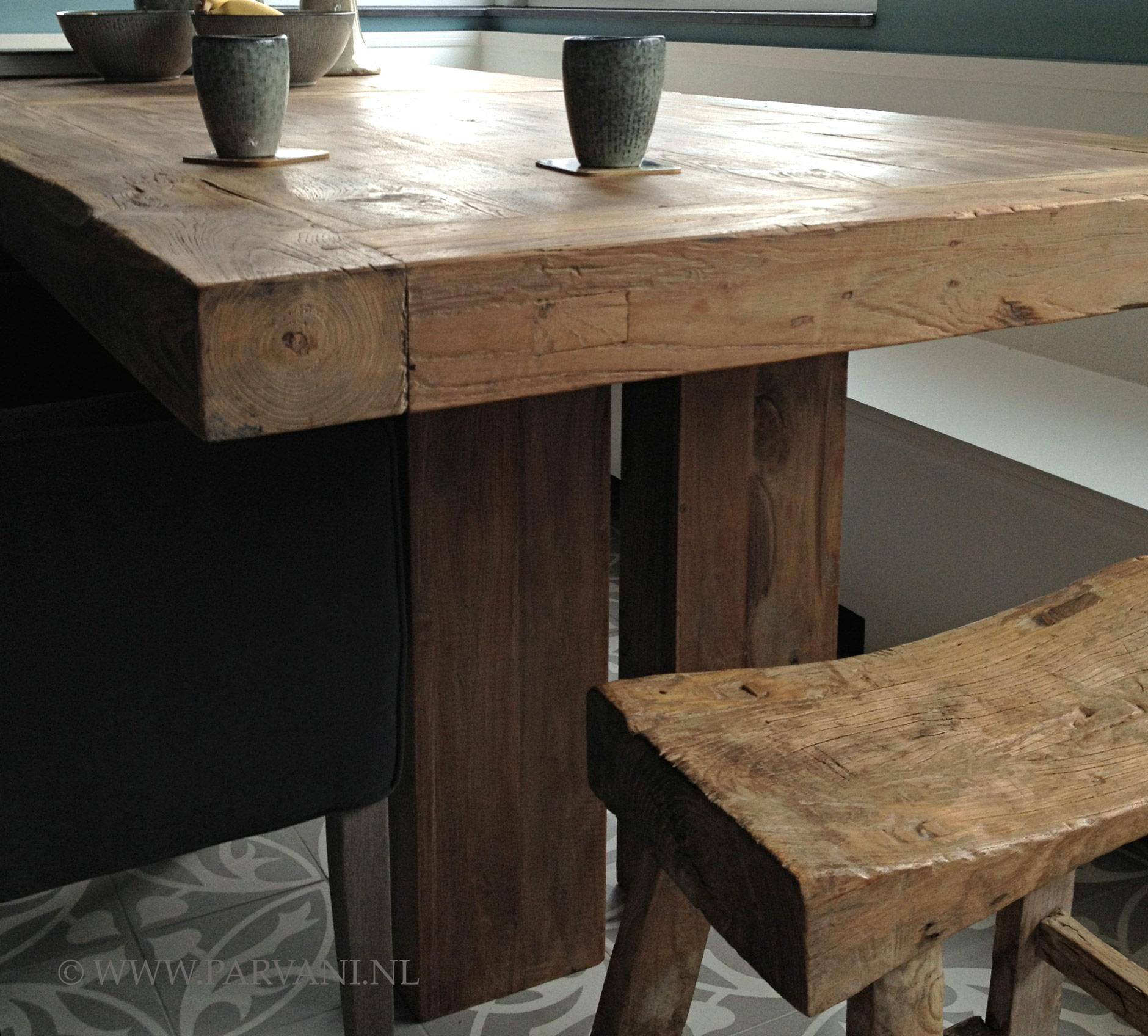 Eettafel robuust hout loungeset 2017 - Eettafel en houten eetkamer ...