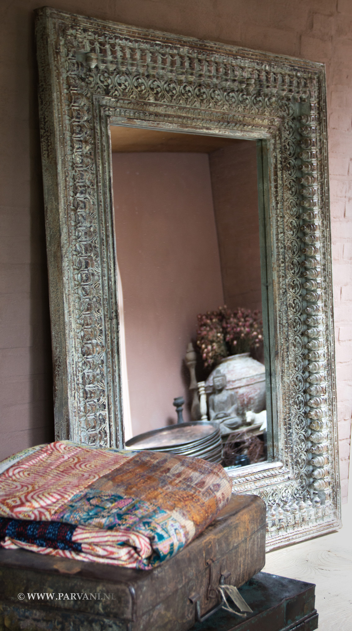Grote Spiegel Hout.Parvani Spiegel India Lijst Hout Snijwerk Groot