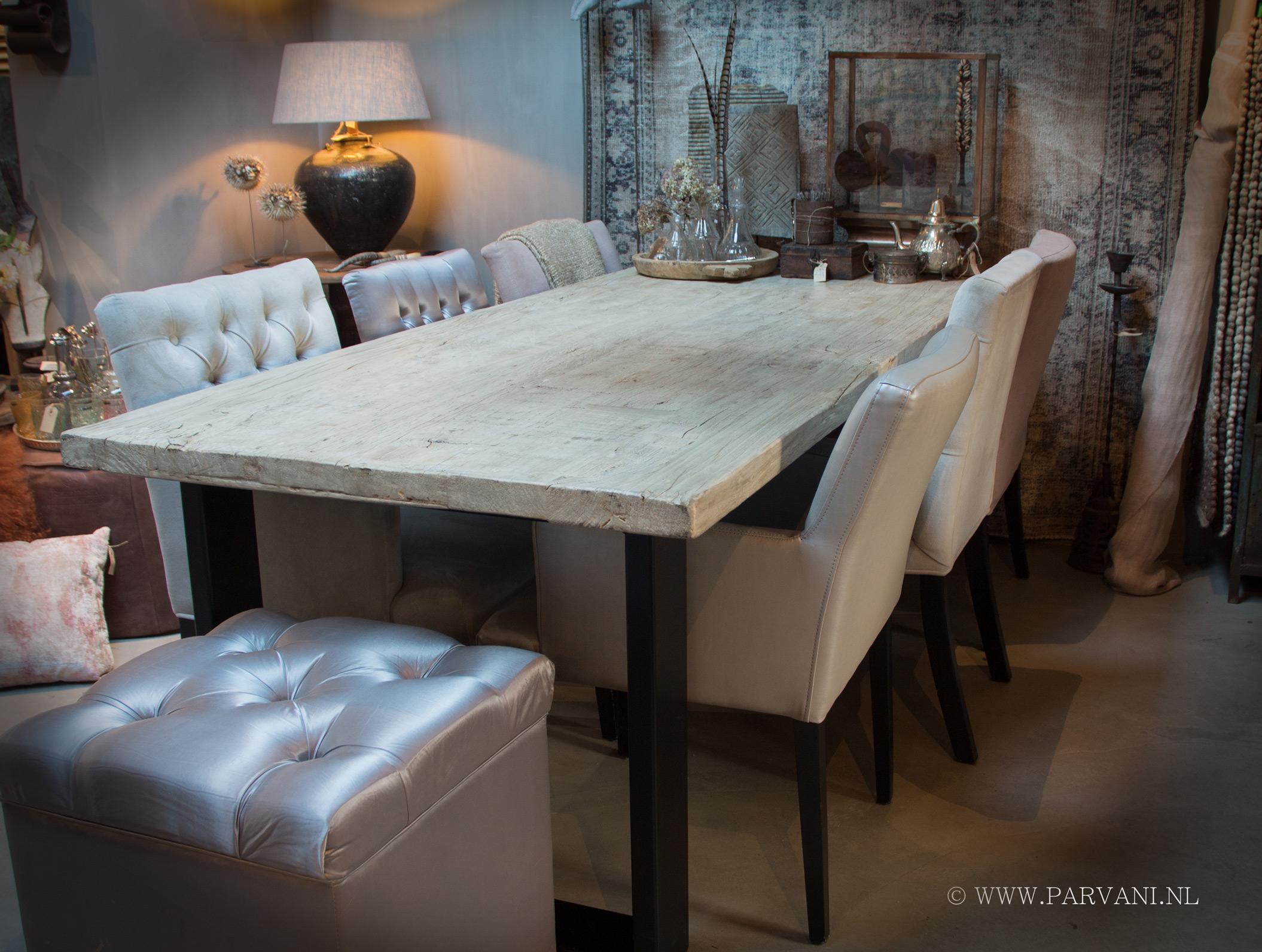 Ijzeren Onderstel Tafel : Parvani tafel massief houten blad ijzeren onderstel industrieel
