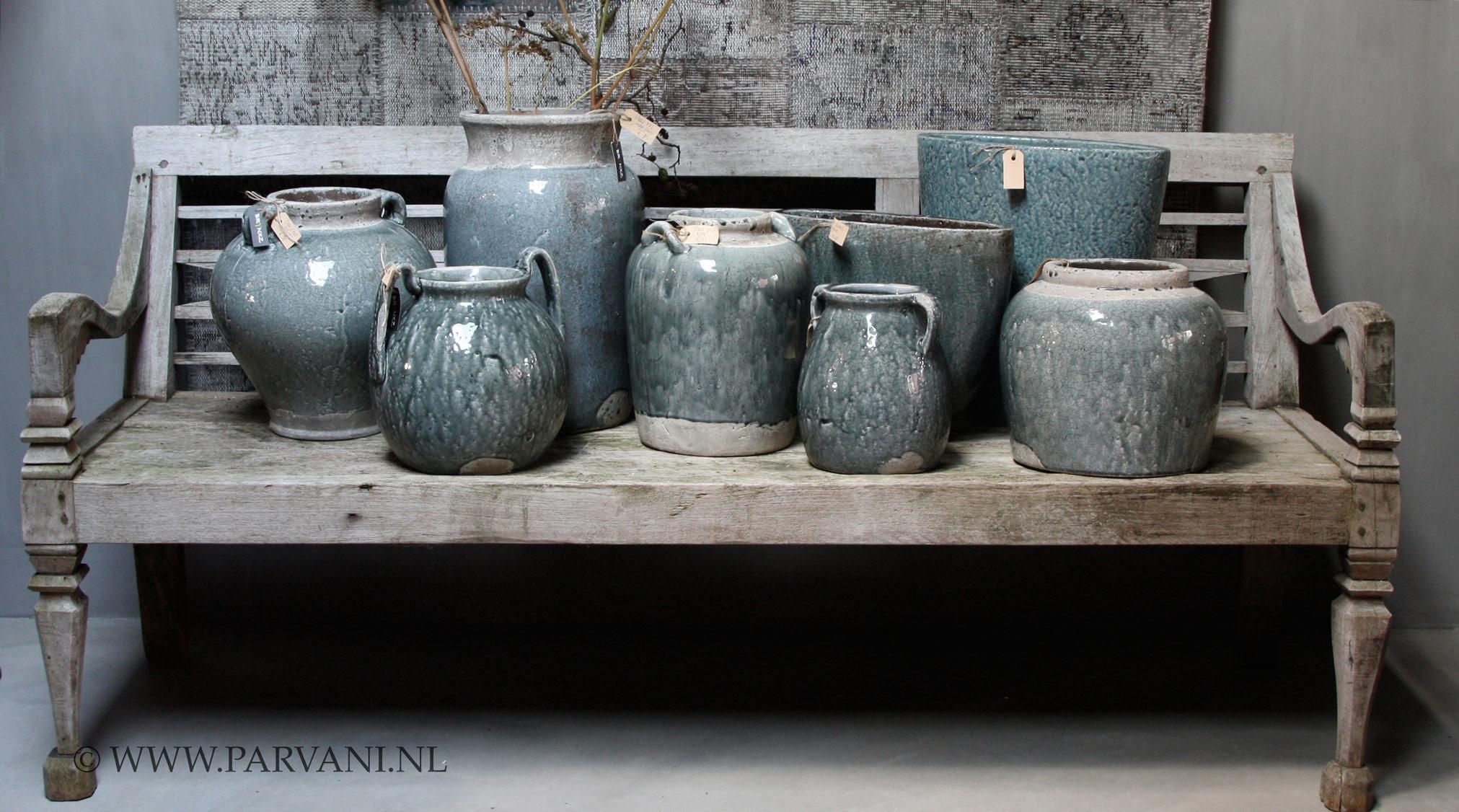 Parvani  Vazen-grijs-groen-Brynxz-blauw-pot-fles