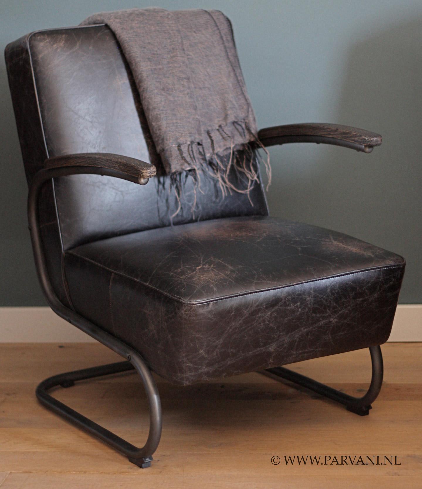 Parvani vintage leren fauteuil stoel robuust for Bruine leren stoel