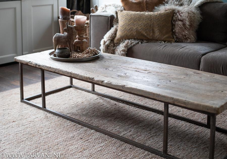 Wonderbaarlijk Salontafel oud hout op metalen ijzeren onderstel | Parvani FG-91